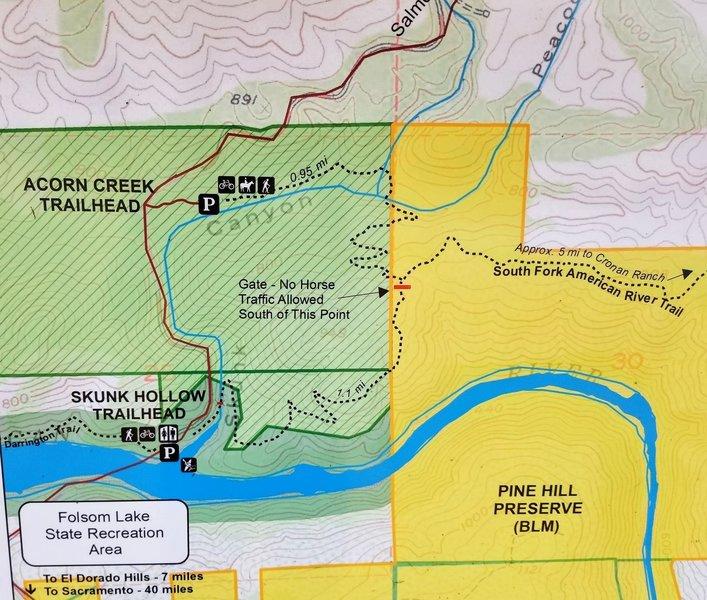 Acorn Creek Trailhead information sign.