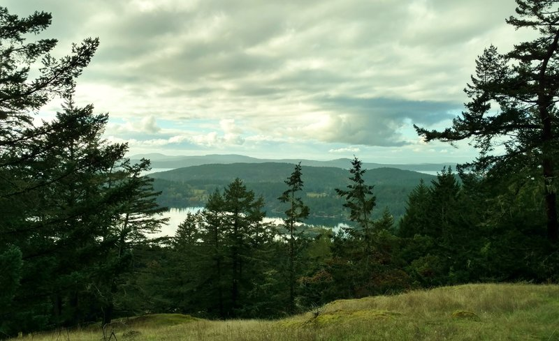 The San Juan Islands and Canada are seen through a break in the trees along Lost Oak Trail.