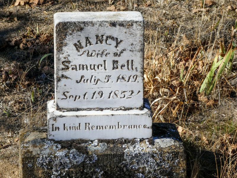 Pioneer gravestone in cemetery.