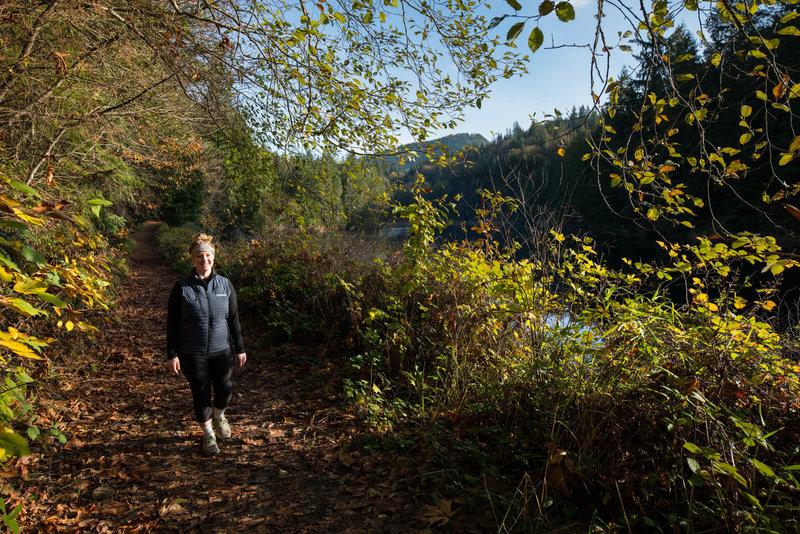 Ashley enjoy a sunny hike around Squires Lake.