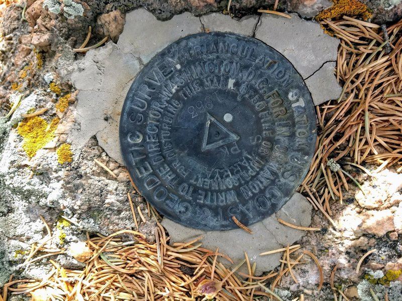 A Survey marker located on the peak.