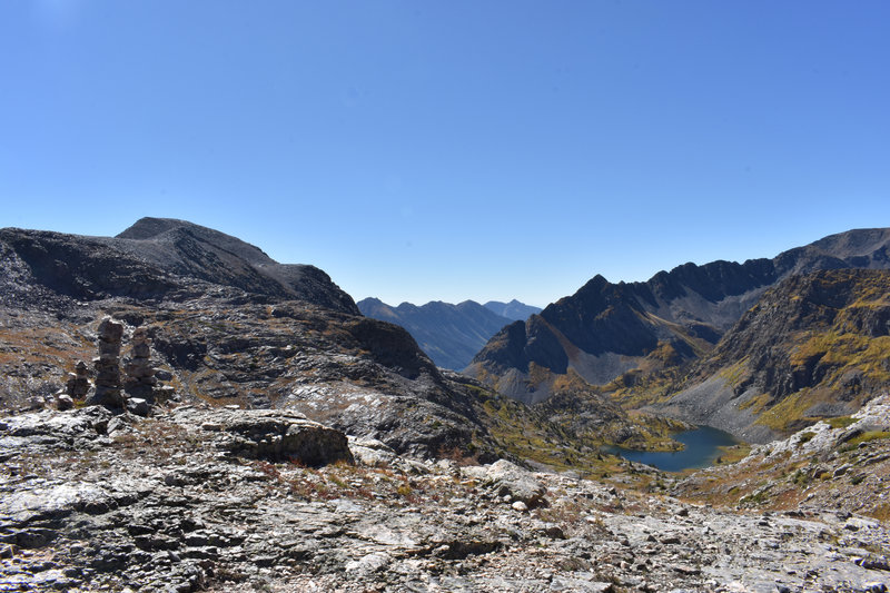 From the pass, looking south at the unnamed lake.