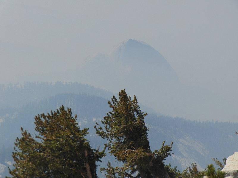Half Dome in the smoke just below Mt. Hoffman