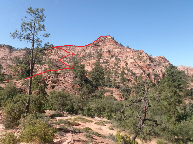 Panorama Point from the parking area, showing the described route to the top.