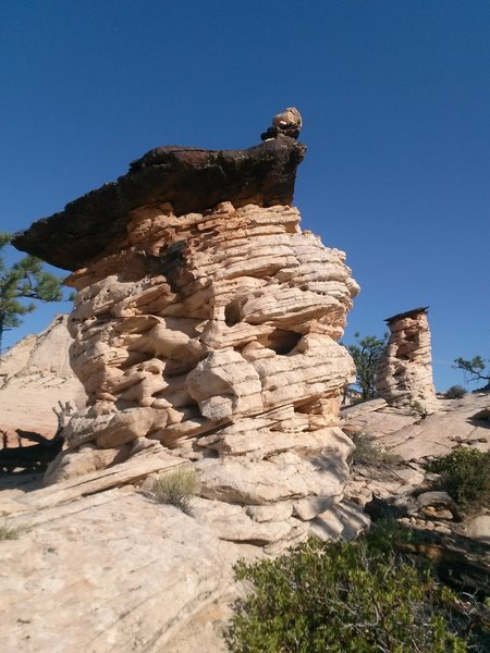 Hoodoos atop Panorama Point. The black caprock is hematite, formed deep inside the Navajo Sandstone when water dissolved the red iron oxide and concentrated it in a crack.