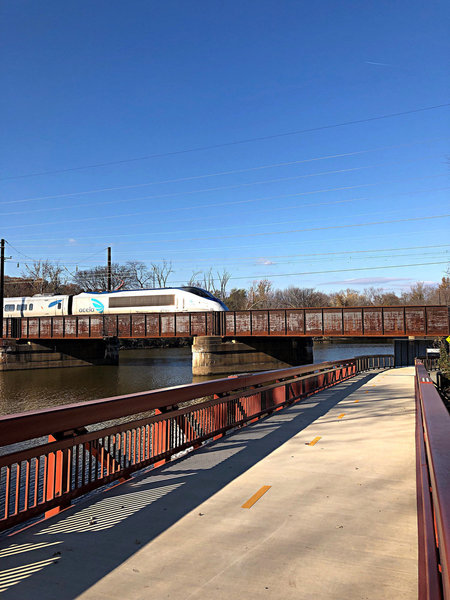 Anacostia River East Bank Trail passing under the Amtrak northeast corridor tracks.