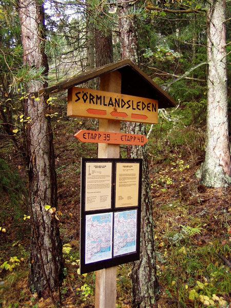 Information board between stage 39 and 40 at Sörmlandsleden Trail.