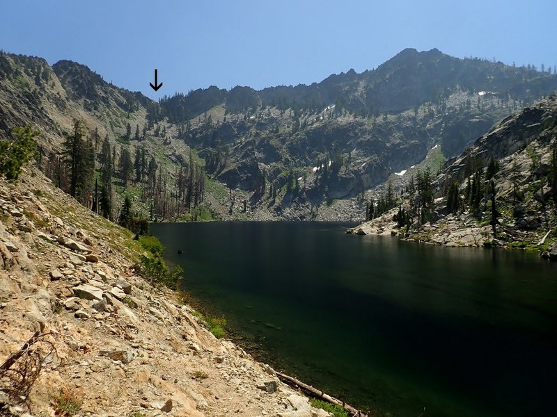 The notch (arrow) above the east end of Big Blue Lake (view dimmed by wildfire smoke)