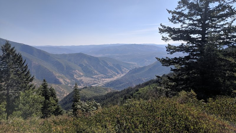 The view of Spanish Fork Canyon and the Wasatch Plateau from the top of Snell Canyon