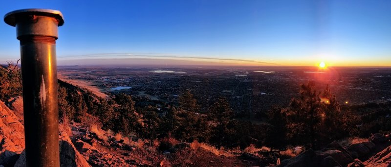 Looking east from the summit at sunrise.