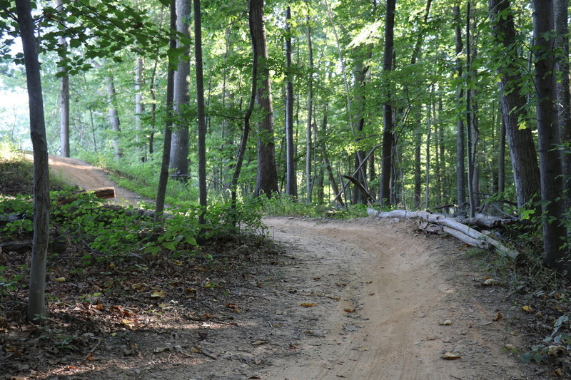 Looking back at the starting mound and first berm on South Side Trail.