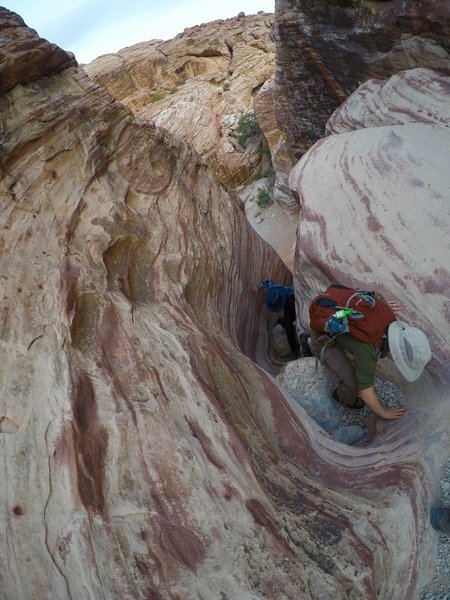 Climbing up a canyon.