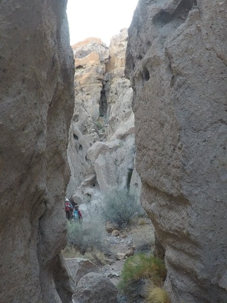 Hiking down into the canyon.