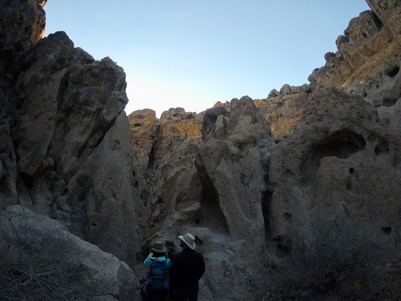 Looking up at the scraggly canyon walls.