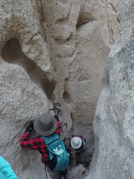 Climbing down the second set of rings.
