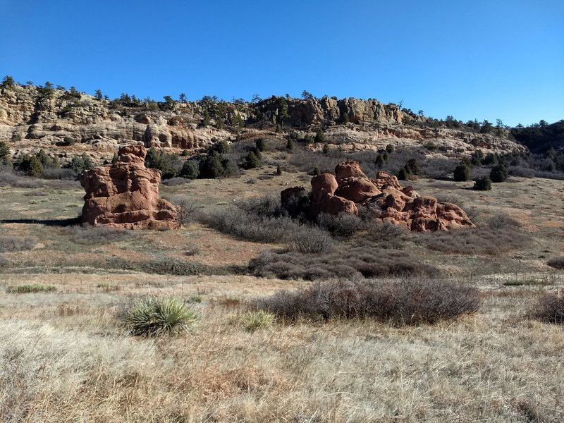 Interesting rock formations are realtively common after emerging from the ridges closest to Two Brands Trail