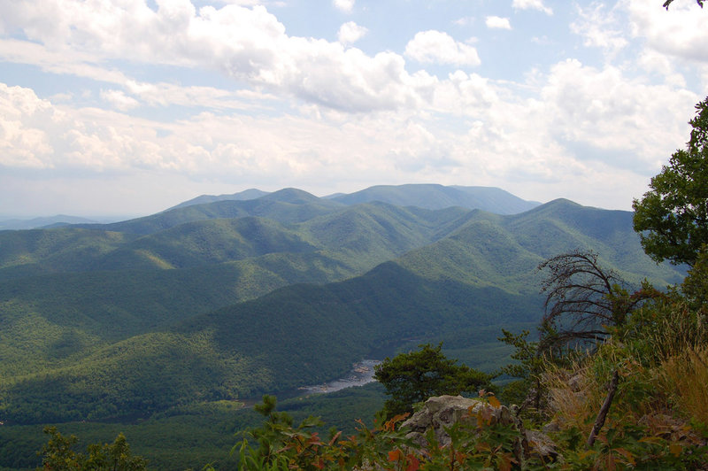 Looking toward the James River Face Wilderness Area and the James River.