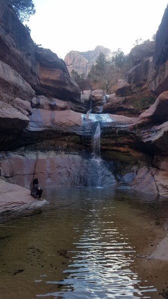 Beautiful unpromoted hidden gem in Zion. Description says flat hike, but we had to scale some pretty big rocks to get there. But it was DEFINITELY worth it.