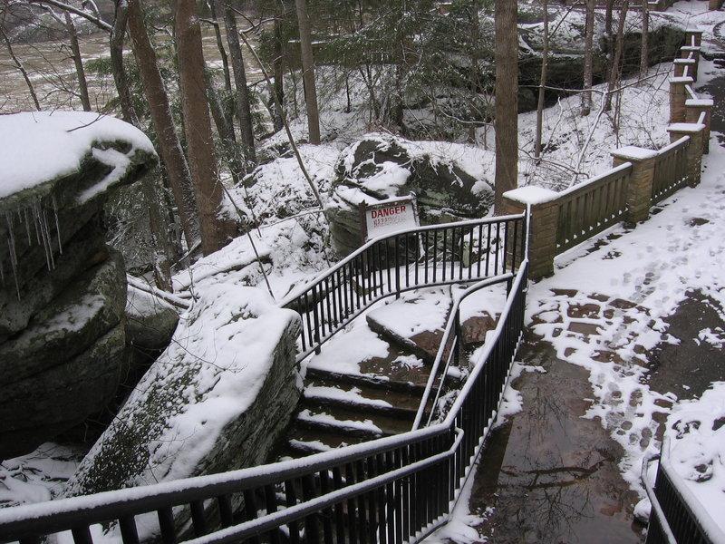 Icy stairs at Cumberland Falls