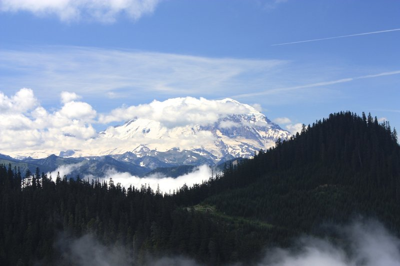Awesome views of Mt. Rainier make the uphill climb worth the effort.