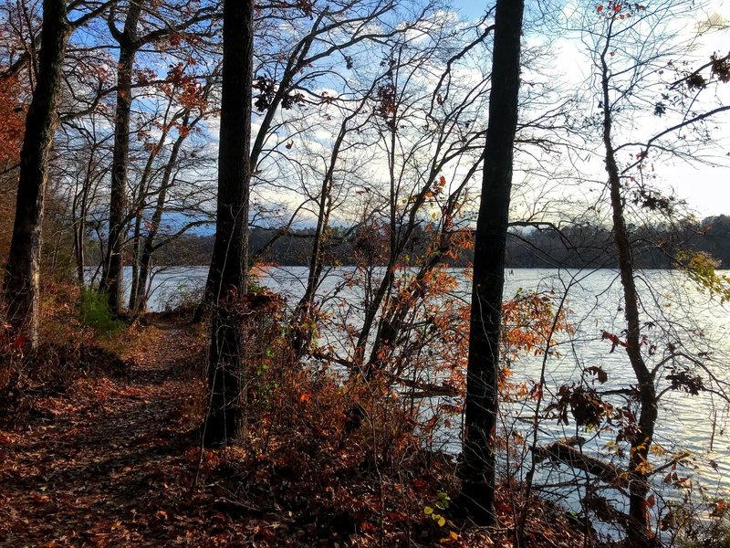 The trail starts by Saxapahaw Lake