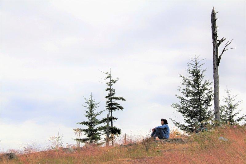 Enjoying the view atop Guemes Mountain.
