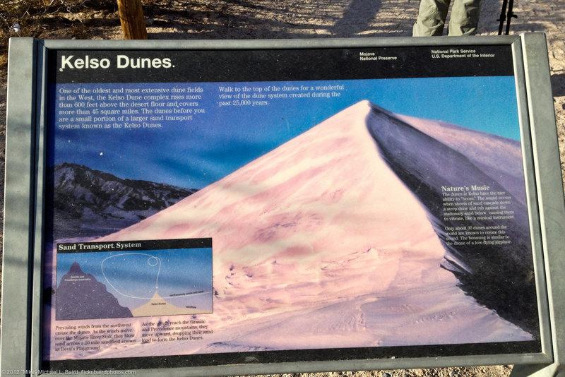 Interpretive signs at start of Kelso Dunes