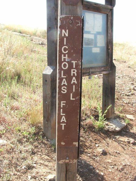 Nicholas Flat Trail Sign