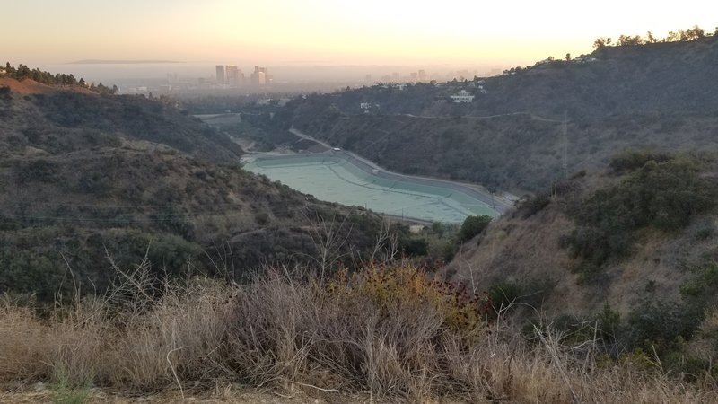 The empty Reservoir.  Looking south from Hastain Drive towards the L.A. basin.