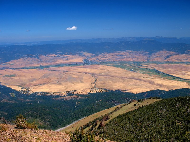 Prairie City, Oregon from the summit of Strawberry Mountain