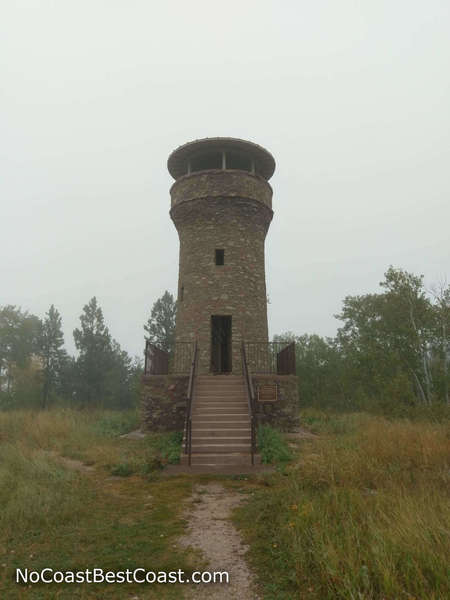 The historic tower commemorating the friendship of Seth Bullock and President Theodore Roosevelt on the top of Mount Roosevelt
