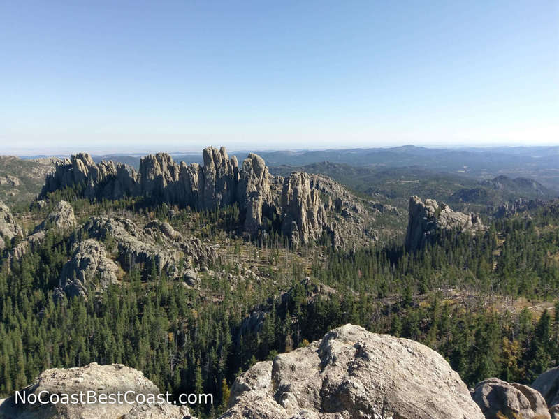The Cathedral Spires seen from the summit of Little Devils Tower
