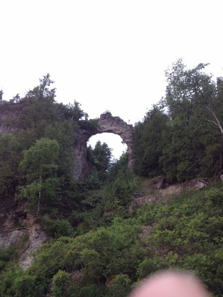 Looking up at Arch Rock from M185