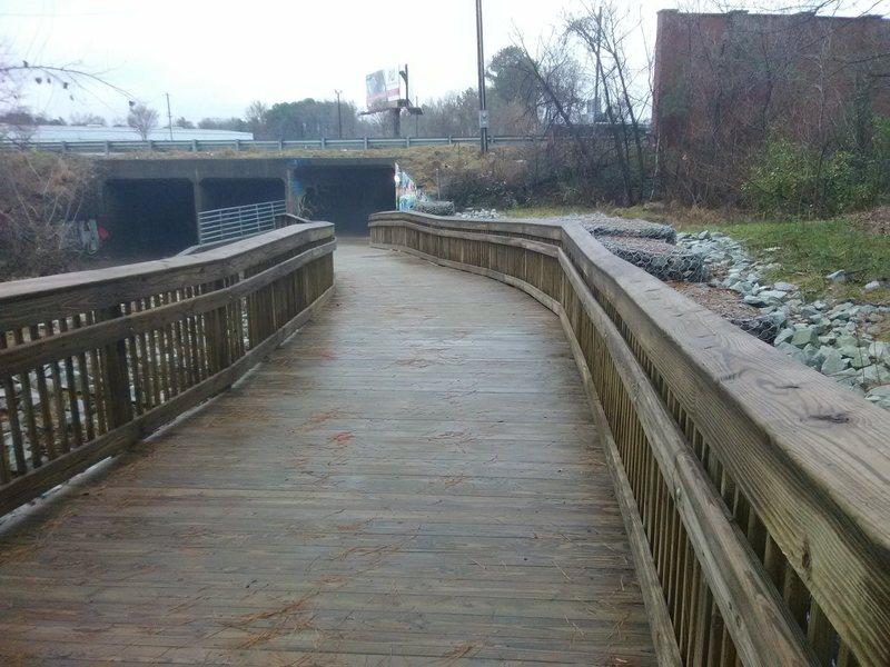 Footbridge under I-85 on West Ellerbee Creek Trail