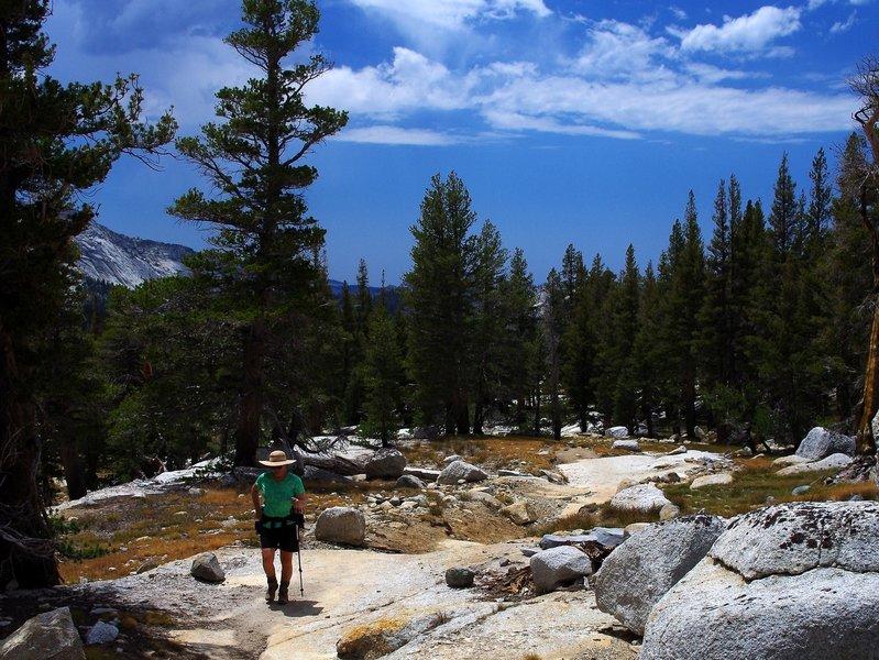 Climbing toward Vogelsang High Sierra Camp