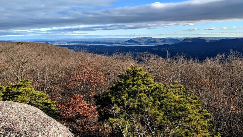 The highest ridge in Schunnemunk Mountain State Park provides multiple breathtaking views, this one features Stormking Mountain in the distance highlighted by sunshine