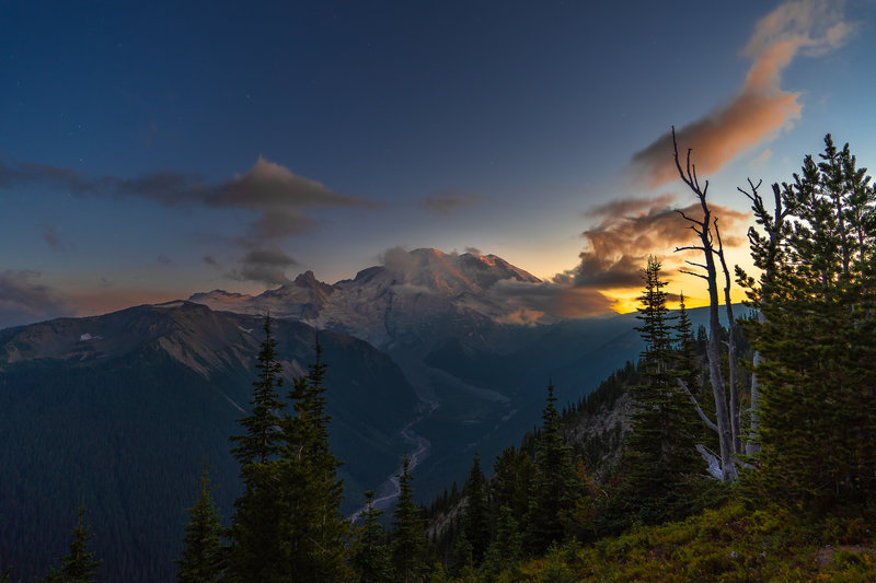 Mt. Rainer Sunset From Silver Forest Trail