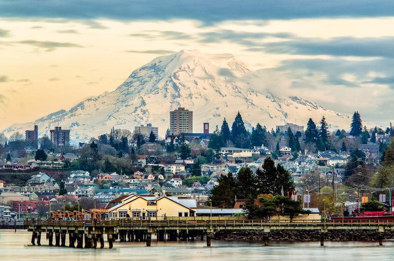Mt. Rainier over Tacoma from Ruston Path