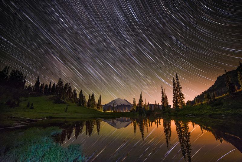 Tipsoo Lake Under The Stars With Mt. Rainier