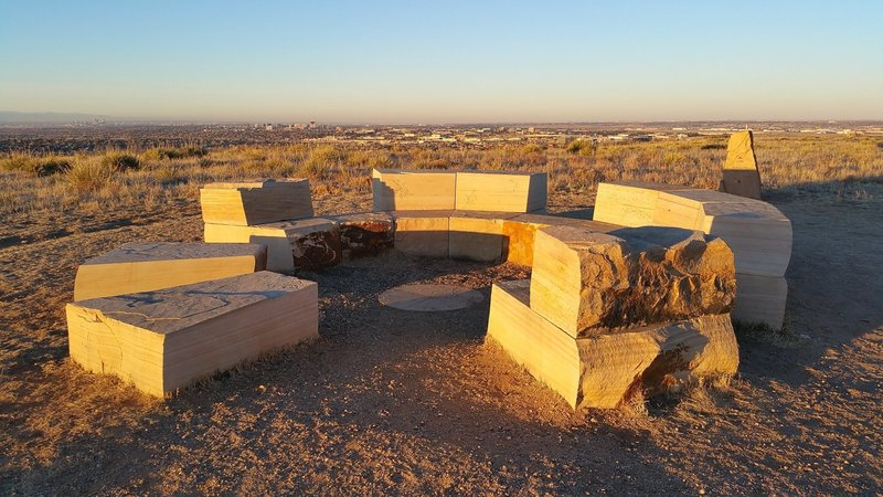 Manmade Stonehenge-like rest spot at the end of the Lonehenge Trail.