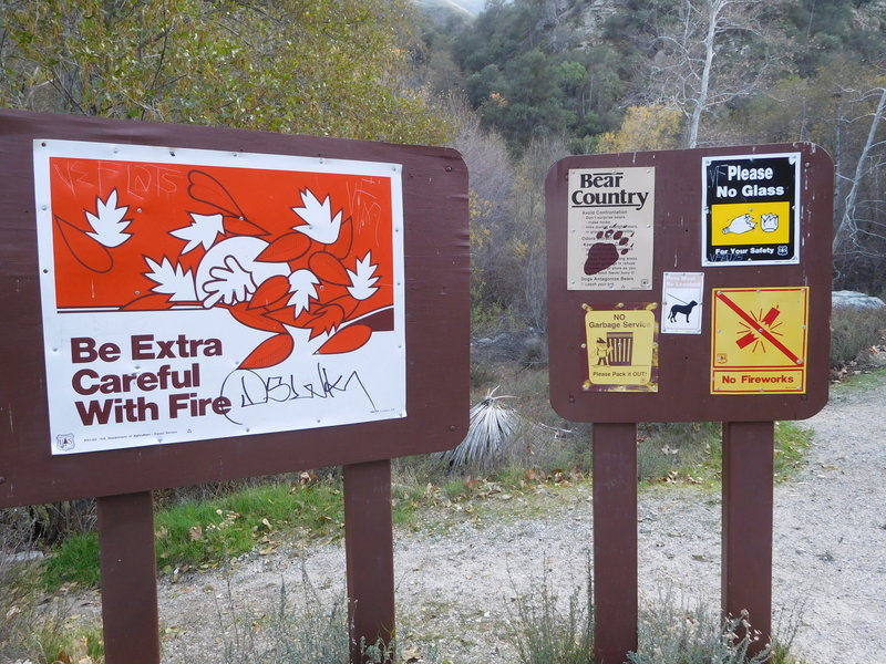 These signs mark the begining of Bear Creek Trail along West Fork Road but there is no mention of the trail.