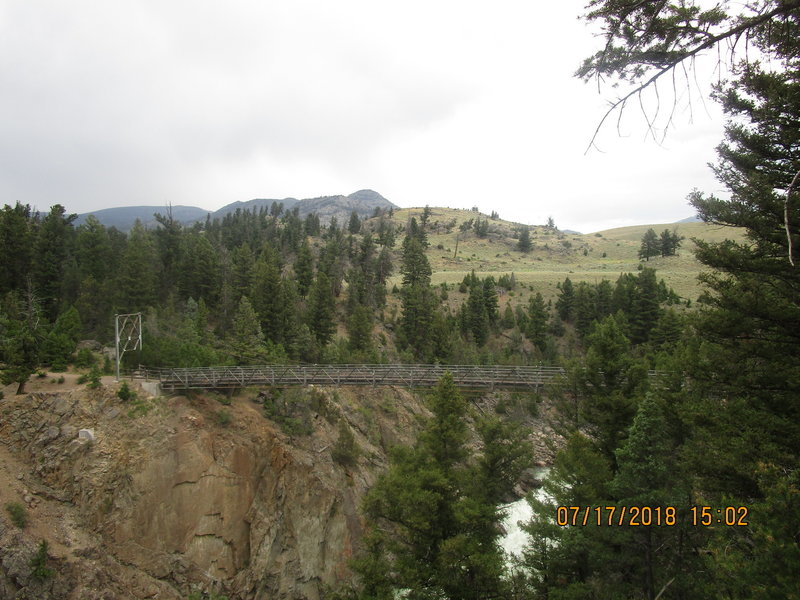Suspension Bridge on the Yellowstone River trail (looking north)