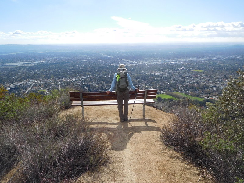 One of several benches along the Bailey Canyon Trail offering views of the San Gabriel Valley to the ocean.
