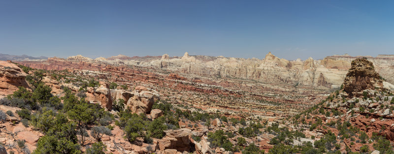 Panorama of the Waterpocket Fold looking north from Frying Pan Trail