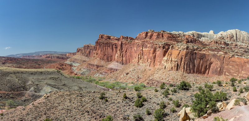 Capitol Reef north of Highway 24 from the mouth of Cohab Canyon