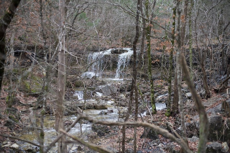 A series of waterfalls sit off to the right hand side of the trail shortly after getting on the Shane's Shortcut Trail.