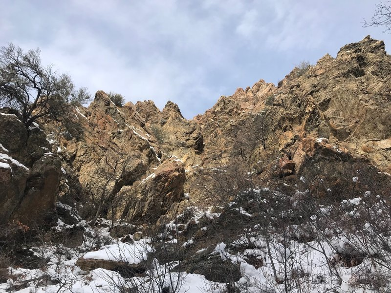 Looking up from the Heughs Canyon Trail toward some of the rugged rock formations that occur along the trail.