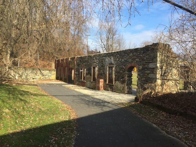 A stone structure on Yorklyn Bridge Trail.