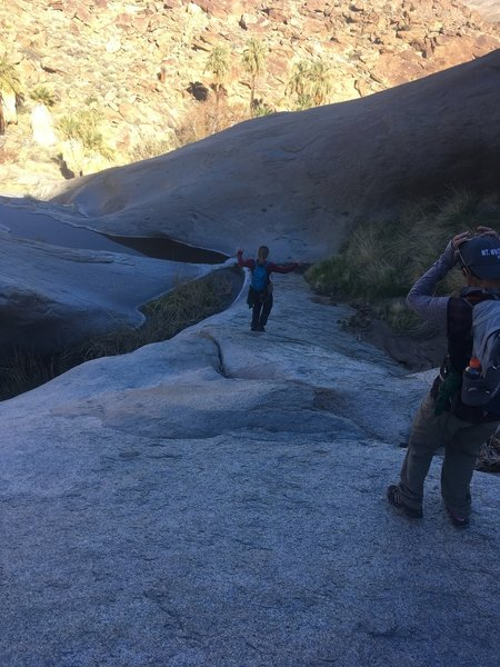Working our way down the rock slabs in the creek bed.