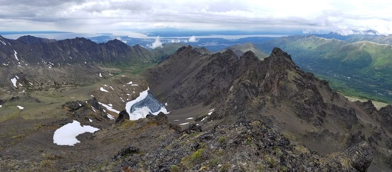 View from Temptation Peak looking north with Ship Creek to the right and Snowhawk valley to the left.
